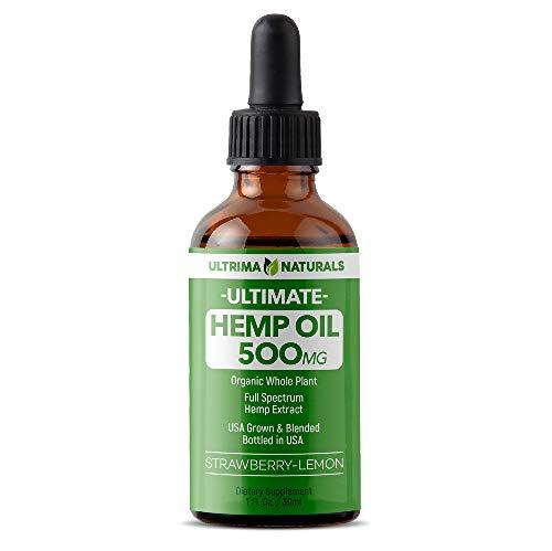 ULTRIMA 500mgHemp Tincture Oil Drops - 30ml (1oz.) - Strawberry Lemon