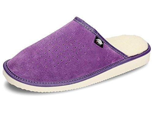 Ecoslippers - Zapatillas de estar por casa de Ante para mujer morado