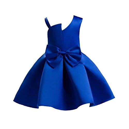 Baby Girl Dress Daoroka Kids Bowknot Sleeveless Strap Pleated Princess Wedding Bridesmaid Birthday Party Formal Tutu Ball Gown Skirts Cute Soft Summer A Line Sundress (140/7T, (Designer Dress Hat)