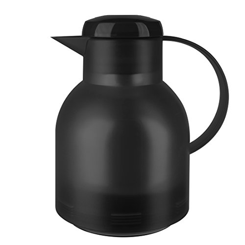Emsa Samba, Quick Press, Vacuum Insulated Thermal Carafe, 34 oz, Translucent Black Vacuum Insulated Coffee Server