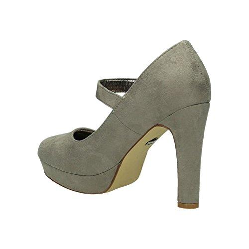 King Of Shoes Damen Riemchen Mary Jane Pumps Plateau High Heels Blockabsatz 317 Grau