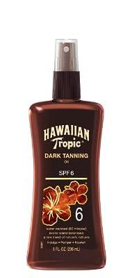 Hawaiian Tropic Sunscreen Dark Tanning Oil Sun Care Sunscreen Spray - SPF 6, 8 Ounce