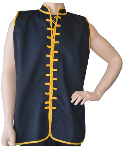 "Sleeveless Uniform Top Black w/Gold-Kid Medium (top height: 22"" chest: 36"")"
