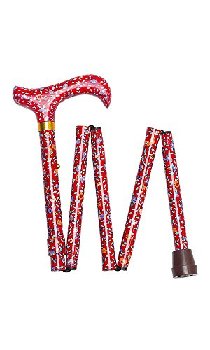 All-Patterned Red Floral Handbag Folding Walking Stick by Charles Buyers
