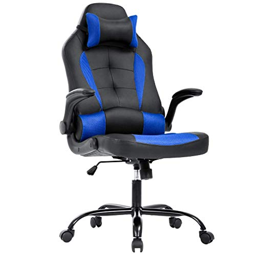 PC Gaming Chair Ergonomic Racing Heavy Duty Office Chair Video Game Chair, Blue PU Leather Chic Desk Chair, Lumbar Support Flip Up Arms Headrest Swivel Rolling Adjustable Best Home Office Chair