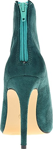 Abby 769-1 Womens Ankle Boots Zip Stiletto Heeled Pointed Toe PU Autumn Winter Wedding Job Party Prom Shoes Green Ql5hoYdA