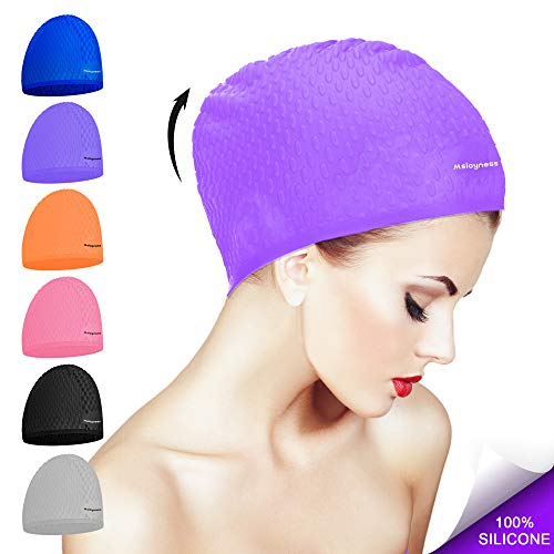 Msicyness Swim Cap for Long/Curly Hair Silicone Swimming Hat for Adult Swimming Pool Laps Latex Rubber Reduce Water Intake Men Women UV Guys Girl Bathing Cap ()