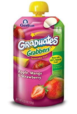 Gerber Graduates Grabbers, Apple, Mango, Strawberry, 4.23-Ounce (Pack of 8) by Nestle Nutrition