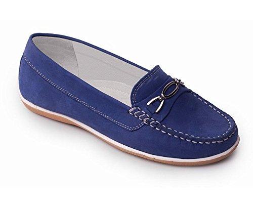 Padders cuero de las mujeres del zapato mocasín 'Brighton' | zapato mocasín se deslice | Anchura de E | talón de 30mm| Cuerno de zapato libre Royal Blue Nubuck