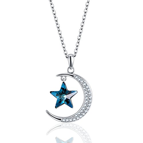 (ZIOZIA Star and Moon Pendant Necklaces for Women Made with Blue Swarovski Crystal Kids Jewelry for Girls ...)