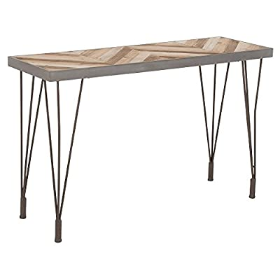 Deco 79 44393 Wood & Metal Console Gray/Light Brown - -Dimensions: 47x16x30 -theme: rustic elegance -assembly: Yes -Finish: Stained wood and polished metal -material: metal, Cypress wood and Glass -color: Light Gray and Light Brown - living-room-furniture, living-room, console-tables - 41qCECzYCXL. SS400  -