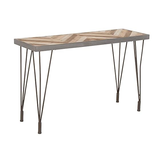 Deco 79 44393 Wood & Metal Console Gray/Light Brown - -Dimensions: 47x16x30 -theme: rustic elegance -assembly: Yes -Finish: Stained wood and polished metal -material: metal, Cypress wood and Glass -color: Light Gray and Light Brown - living-room-furniture, living-room, console-tables - 41qCECzYCXL. SS570  -