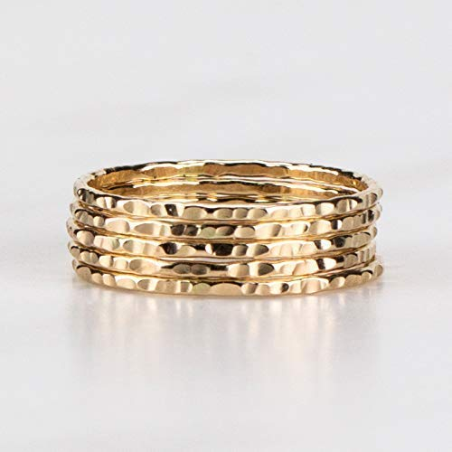 Delicate Stacking Rings - Hammered 14K Yellow Gold Fill - Sold per Ring - Custom Made To Your Size ()