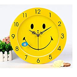 Luorizb Creative Wall Clock Cartoon Clock Cute Yellow Smiley Face Quiet Clock Sound Clock Table Living Room Bedroom Office Wall Clock Large Quartz Clock