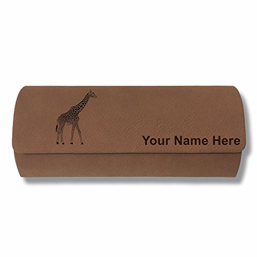 Eyeglass Case - Giraffe - Personalized Engraving Included (Dark Brown) by SkunkWerkz