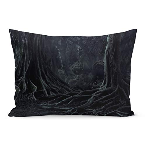 Semtomn Throw Pillow Covers Spooky Halloween Dead Mysterious Forest Creepy Trees Twisted Roots and Two Lizard on Misty Night Scary Pillow Case Lumbar Pillowcase for Couch Sofa 20 x 26 inchs]()