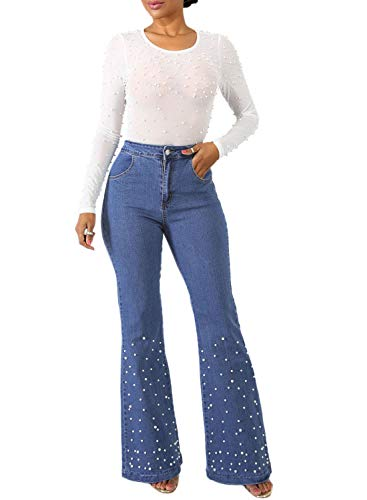 Aleumdr Women Stretchy Wide Legs Skinny Denim Pants Flare Bell Bottom Bootcut Jeans Size M Blue]()