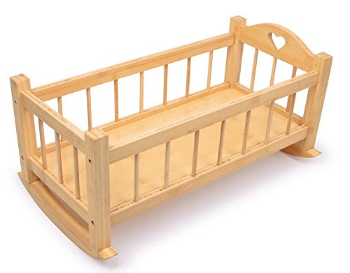 Gamez Galore Natural Nature Solid Wooden Dolls Rocking Cradle Crib Cot Bed GamezGalore GG0017