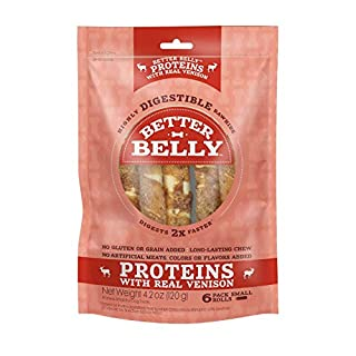 Better Belly Proteins with Real Venison Small Rolls, Dog Chews, 6 Count