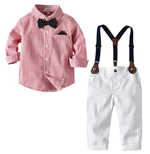 Baby Boys Dress Clothes, Toddlers Boys Long Sleeves Vertical Stripes Button Down Dress Shirt with Bowtie + Suspender Pants Set Gentlemen Outfit, 1# Red, 12-18 Months = Tag 90