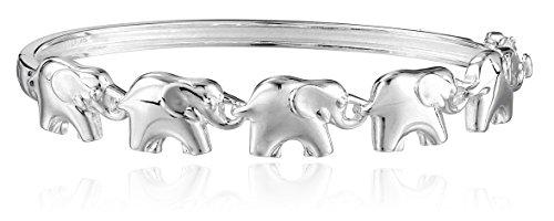 Silver Elephant Bracelet - Sterling Silver Elephant Bangle Bracelet, 6.6