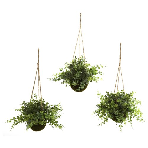 Berry Tree Set - Nearly Natural 6741-S3 Eucalyptus Maiden Hair Berry Hanging Basket, Green, Set of 3
