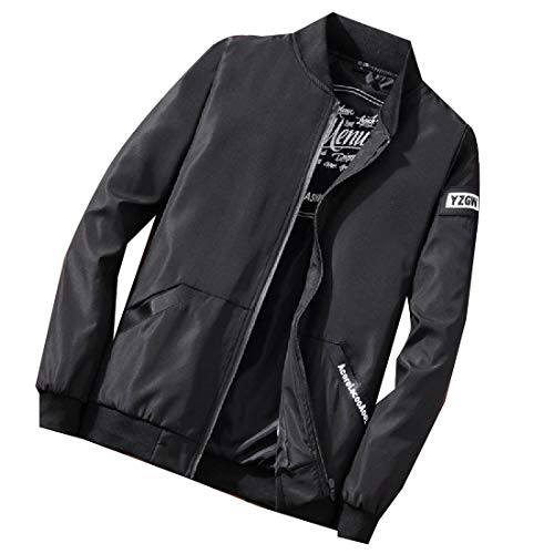 Comfort Black Jacket Baseball Men Bomber Coat Slim Outwear Overcoat Fit qaAwSC0x