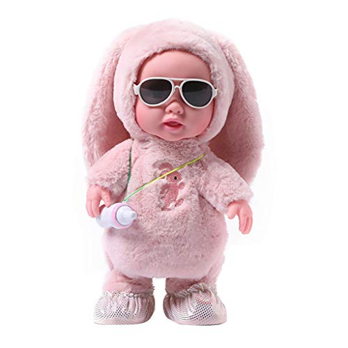 m·kvfa Cute Baby Bottle enameled Doll Multi-Functional Electric Plush Toy for Toddlers Girls and Boys (Pink)
