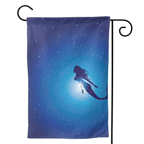 "Garden Flag Undersea Mermaid House Flag Windproof Sunscreen Vertical Double Sided Decorative Yard Flag (Two Size 12.5""x18"",28"" X 40"""