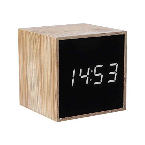 LED Alarm Clock, YiMiky Mini Wooden LED Digital Alarm Clock Voice Control Clock Adjustable Luminance Cube Alarm Clock with Date Time Temperature Display for Kids Heavy Sleepers - White ()