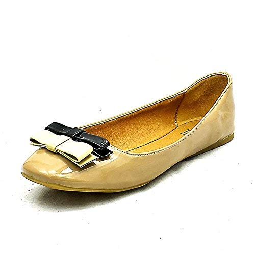Pumps Flat Nude Small to Brown Front with Ladies Shoes SendIt4Me Bow q4At5w