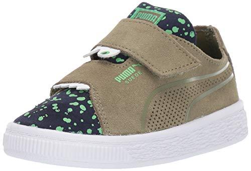 (PUMA Boys' Suede Deconstruct Velcro Sneaker Olivine-Peacoat-Irish Green 7 M US Toddler)