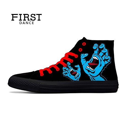 FIRST DANCE Skull Shoes for Men Fashion Sneaker High Top Skull Punk Rock Joker Print Shoes Black Shoes for Man Cool US11