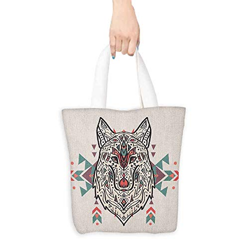 (Work package Tribal Charming Lion Like Wolf Head with Paisley Ethnic Design Ornaments Print Coin cash wallet 16.5
