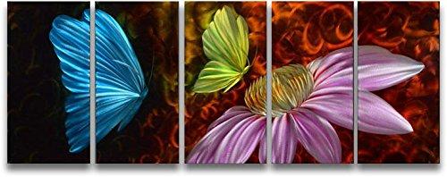 Metal Wall Art Abstract Modern Contemporary Sculpture Home Wall Decor Butterfly Flower