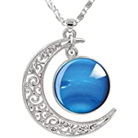 FANSING Crescent Moon Nebula Necklaces Collections, Galaxy, Universe, Space, Planet Pendant Necklaces
