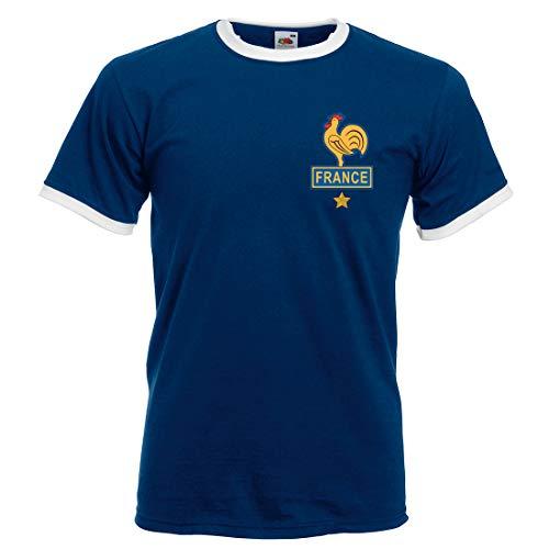 Print Me A Shirt Camiseta de fútbol Retro Adultos y para Hombre Platini France – Azul Marino/Blanco