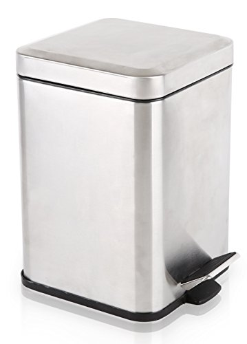 [BINO Stainless Steel 1.6 Gallon / 6 Liter Square Step Trash Can, Brushed Steel] (Square Steel Step)