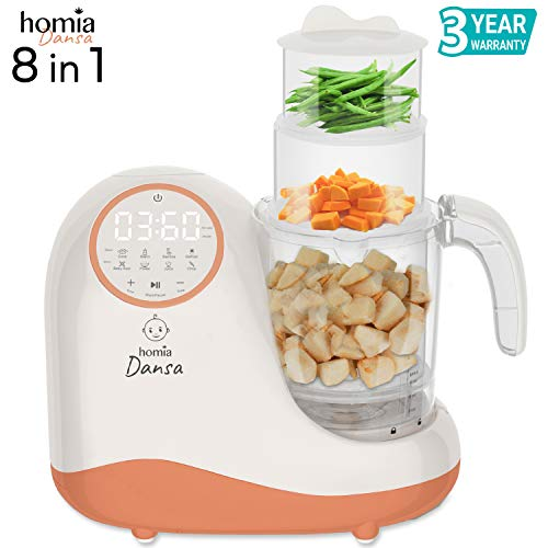 (Baby Food Maker Chopper Grinder - Mills and Steamer 8 in 1 Processor for Toddlers - Steam, Blend, Chop, Disinfect, Clean, 20 Oz Tritan Stirring Cup, Touch Control Panel, Auto)