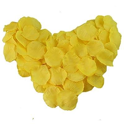 AerWo 500pcs Yellow Silk Rose Petals Artificial Flower Wedding Party Decor Bridal Shower Favor Centerpieces Confetti