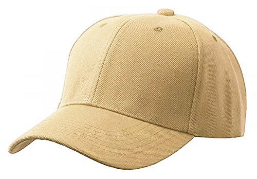 2100 Cap - Unisex Adult Men Women Classic Plain Adjustable Velcro Sports Outdoor 6 Panel Hat Baseball Cap DF-2100 (Adult, khaki)