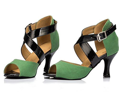 Crc Womens Trendy Peep Toe Satin Ballroom Morden Tango Party Wedding Scarpe Da Ballo Professionali Verde Agrume