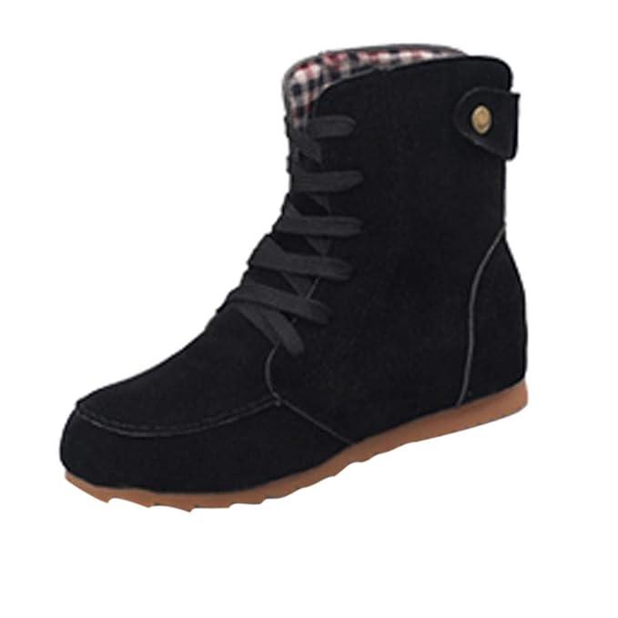 aba63ba959 BaZhaHei Donna Scarpa,Ragazza Scarpe Basse Scarpe Lace-Up,Invernali/Autunno  Tacchi Alti Scarpe Singole Stivaletti Flat Shoes Casual con Tacco Basso  Stivale ...