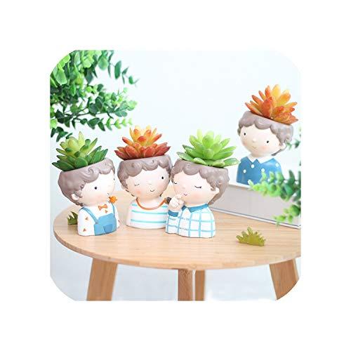 The Hot Rock Curly Boy Planter Vase - 4pcs European Style Succulent Plants Planter Pot Mini Bonsai Cactus Flower Pot Home Decorative Craft
