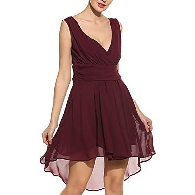 Nice Zeagoo Women Deep V-Neck Empire Waist Chiffon Sleeveless Short Bridesmaids Cocktail Party Dress for sale