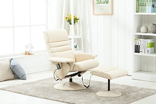 Electric Armchair w/Ottoman Artificial Leather TV Recliner...