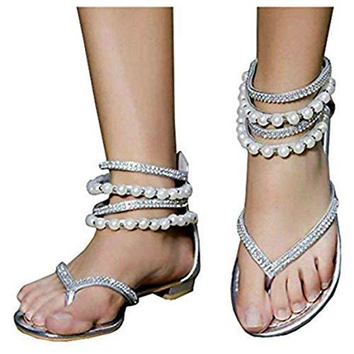Liyuandian Women Bling Rhinestone Pearl Wedding Dress Thong Flat Sandals ()