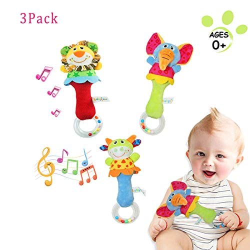 Morningw 3 PCS Baby Animals Rattle Shaker Cute Stuffed Animal Shaker Toy Ring Rattle Toys for 3 6 9 12 Months and Newborn Gift Plush Elephant Lion Cow Style
