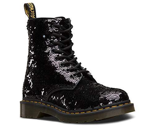 Dr. Martens Women's 1460 Pascal 8 Eye Boots, Black/Silver/Black, 9 M US