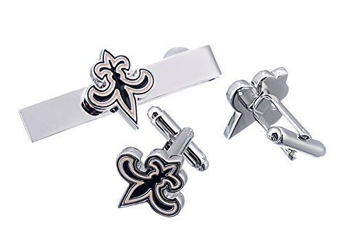 New Orleans Saints Cufflinks - Promotioneer Men's Rugby Team Logo Symbol Series Cufflinks and Tie Clip with Gift Box 04